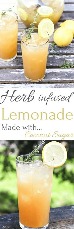 Herb Infused Lemonade made with coconut sugar