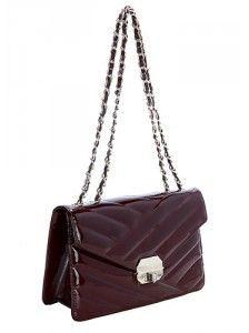 Olivia Flap Leather Bag Burgundy