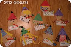 "New Year craft for kids...""Goal Buddies!"" Tag at bottom says ""This Year I Want To..."""