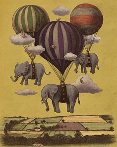 love this vintage Russian illustration of elephant hot air balloons Flying Elephant, Elephant Love, Elephant Art, Elephant Sketch, Elephant Shower, Ballon Illustration, Elephant Illustration, Brain Illustration, Elephant Cross Stitch