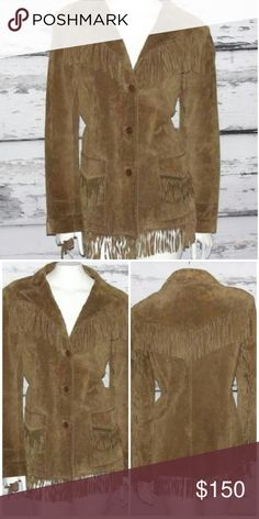 "Suede Leather Fringe Festival Jacket NWOT Equal parts bohemian and western, this beautiful suede leather jacket features statement fringe trim, button down front with roomy front flap pockets. Fully lined in 100% polyester with the look of silk. Fringe detail on front, pockets, sleeves, hem and back. 27"" top to bottom (30 w/ fringe). Chest: 21 1/2. Waist: 20 1/2. Sleeve: 18"" Brandon Thomas Jackets & Coats Blazers"