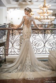naama and anat 2018 bridal off the shoulder deep plunging sweetheart neckline heavily embroidered bodice tulle skirt gold glamorous mermaid wedding dress lace back chapel train (sensual) bv #weddingdress #lace