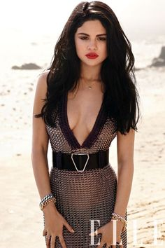 Selena Gomez, Elle | Red lips & black hair