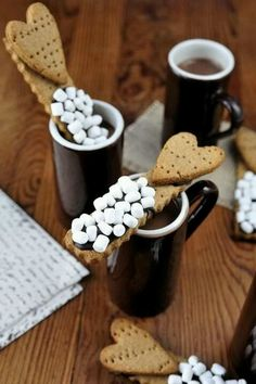 cozy hot drink with biscotti hearts