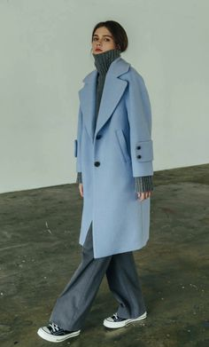50 Popular Coats Women Ideas For This Winter To Try Asap - Winter Coats Women, Coats For Women, Burberry Wool Coat, Light Blue Coat, Coat Outfit, Long Wool Coat, Wool Coats, Oversized Coat, Blue Coats