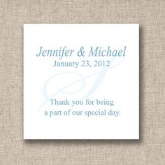 Initial Design Wedding Favor Tags (available in other colors) | #exclusivelyweddings | #lightbluewedding