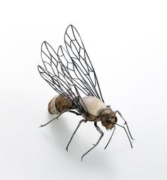 Yojae Lee Brooch: Insects_ wasp, 2014 Frog's skin, shell, leather, sterling silver, polymer clay 8.3 x 16 x 10 cm