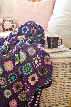 I like the purple in this Granny Square crochet blanket