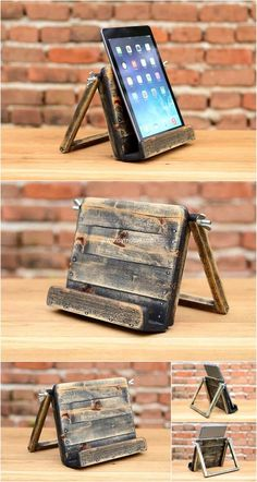 reused pallets mobile phone stand