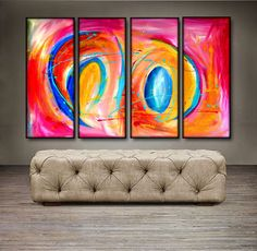 'Morning Dance II' is a 100% hand-made painting, created with acrylic paints on high-quality canvas. Painting is coated with high-gloss varnish to protect it from possible dust and sun damage. The set