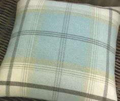 Wool Mix Tweed / Plaid / Tartan Cushion / Throw Pillow Cover - Duck Egg Blue,Cream, Green, Brown - Both sides - Blanket Style- Country Check on Etsy, $52.64 AUD