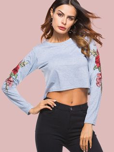 Floral Embroidery Sleeve O-Neck Crop T-Shirts