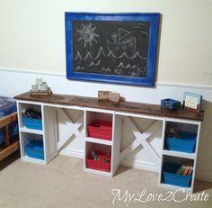 DIY Repurposed Cabinet Doors into Children's Desk