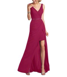 DescriptionAlfred Angelo Style 7338LFulllength bridesmaid dressSleeveless, v neckline and backNatural waist with beaded trimSplit-front draped skirt with short underskirtChiffon with crystal beaded belt