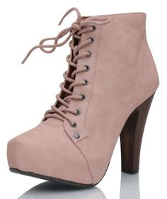 Cool Blush Pink Faux Leather Platform Chunky High Heel Boot Bootie
