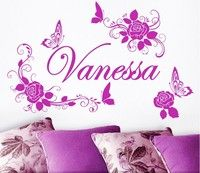 Wish | Custom English name Butterfly flowers Bedroom Bedroom Home Decoration PVC Wall Stickers P718