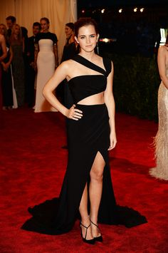 For the 2013 Met Gala, Emma put her fit figure on display in a custom silk-crepe Prabal Gurung gown.
