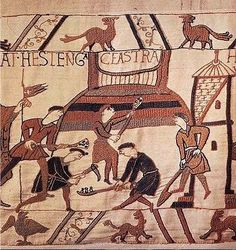 Representation of a Motte and Bailey castle on the Bayeux Tapestry (via Wikimedia Commons)