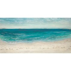 """Rosecliff Heights 'Blue Water Seascape' Print on Wrapped Canvas Size: 12"""" H x 24"""" W"""