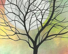 Aceo Original Painting, Tree & Moon in Colorful Sky, Michael Francis Brown