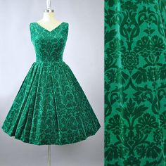 Vintage 50s Dress / 1950s Cotton Velvet Sundress LANZ Forest Green Floral DAMASK Print Full Swing Skirt Garden Cocktail Party Pinup Medium