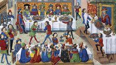 Escena de banquete en una miniatura de 'La verdadera historia de Alejandro Magno', Principios del siglo XV