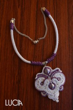 White and purple soutache necklace by LuciaProducts on Etsy