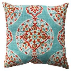 """Bring a chic pop of style to your living room or master suite with this eye-catching pillow, showcasing an exotic motif and bold color palette.   Product: PillowConstruction Material: Polyester and cotton cover and  recycled polyester fiber fillColor: MultiFeatures:  Knife edgeSewn seam closureInsert included Dimensions: 16.5"""" x 16.5""""Cleaning and Care: Spot clean only"""