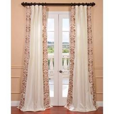 This beautiful embroidered faux silk curtains are defined by a unique sheen and fine weave. The taffeta drapes have a crisp smooth finish with contrasting floral embroidery, completed with a cotton flannel interlining. Faux Silk Curtains, No Sew Curtains, Blackout Curtains, Panel Curtains, Inexpensive Curtains, Home Decor Bedding, Curtain Styles, My Living Room, Fabric Panels