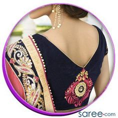 Flaunt chic style in these designer blouse backs, perfect for weddings or parties. No saree will ever be boring with these trendy saree blouse back designs! Blouse Designs Catalogue, Sari Blouse Designs, Designer Blouse Patterns, Blouse Styles, Black Saree Blouse, Blouse Neck, Stylish Blouse Design, Trendy Sarees, Blouse Models