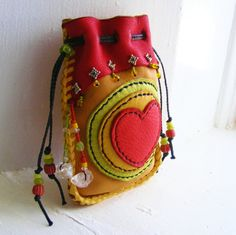 BIG HEART medicine bag Spirit Pouch Deerskin by pradoleather