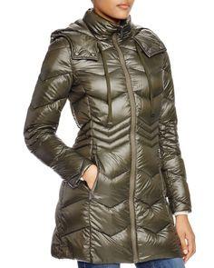 Dkny Chevron Lightweight Puffer Coat