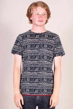 http://www.foxandfeather.co.uk/collections/mens-new-in/products/native-youth-all-over-pattern-print-tee  Native Youth All Over Pattern Tee. All over mono print crew-neck t-shirt.