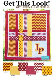 School Pride Free Quilt Pattern with Riley Blake School Chevrons & Dots = Fabulous! Pattern available here: http://www.rileyblakedesigns.com/media/uploads/Free_Quilting_Projects/2013/SchoolPride.pdf