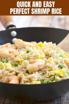 Shrimp Fried Rice made in one pot, with shrimp, green peas and fluffy egg is the perfect use for leftovers. Makes a hearty and tasty meal the meal the whole family will love. Crab Recipes, Salmon Recipes, Rice Recipes, Beans Recipes, Asian Recipes, Savoury Recipes, Chinese Recipes, Copycat Recipes, Best Dinner Recipes
