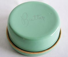 Cottage Butter or Jam Keeper Crock Mint Green Vintage Pottery Kitchen Flip Container 40s Serving Dish. $43.00, via Etsy.
