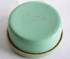 Cottage Butter or Jam Keeper Crock Mint Green Vintage Pottery Kitchen Flip Container 40s Serving Dish. $43.00, via Etsy.