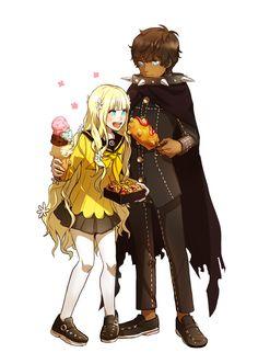 Persona Q - Rei and Zen Persona Crossover, Persona Q, Shin Megami Tensei Persona, Akira Kurusu, Deadman Wonderland, Pattern Images, Anime Kawaii, Online Art, Cute Art