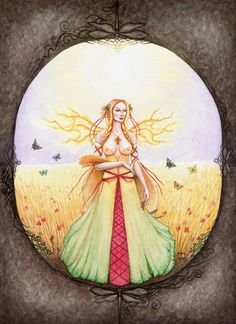 Spirit of Lammas Faerie spirit representing the pagan time of Lammas, celebrated on the July, one of the four great Celtic fire festivals and the f. Spirit of Lammas Wiccan Magic, Fire Festival, Sabbats, Summer Solstice, Faeries, Witchcraft, Autumn Leaves, Celtic, Art