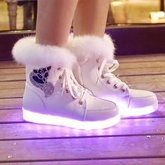 Cheap boot shoe laces, Buy Quality boot products directly from China shoe mold Suppliers: SYTAT Fashion led shoes 2016 Luminous Shoes High Quality LED Lights Colorful Shoes High Casual Shoes Rabbit's Hair Snow Boots High Top Sneakers, Sneakers Mode, Shoes Sneakers, Sneaker Boots, Converse High, Light Up Shoes, Lit Shoes, Neon Shoes, Shoes With Lights