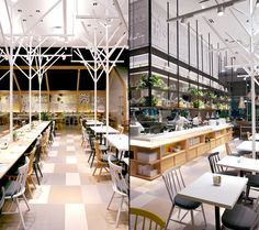 Using the significant ceiling height to its advantage, spatial depth and use of light was carefully planned. The open kitchen and bakery enticed customers with the smell of fresh baked goods and lively atmosphere. The floor plan went through numerous layouts to maintain visual interest, maximize seating count, and support operational function.