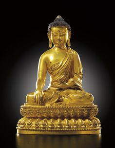 GILT-BRONZE FIGURE OF A SEATED SHAKYAMUNI BUDDHA MARK AND PERIOD OF YONGLE