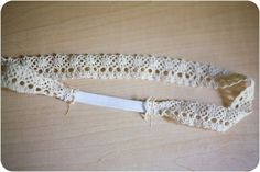 DIY lace headband. Minimal elastic