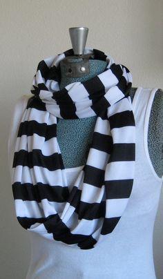 Handmade Black and White Stripe Jersey Knit Scarf