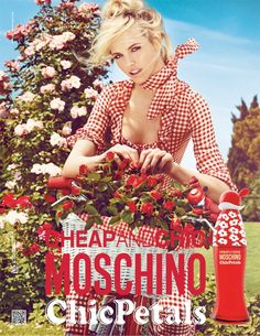 "Gingham. Bike. Flowers. Summer. Ginta Lapina Fronts Moschino Cheap and Chic ""Chic Petals"" Fragrance Ad by Giampaolo Sgura"