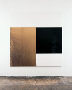 CALLUM INNES    2000    Exposed Painting, Charcoal Black, Yellow Oxide    Oil on canvas