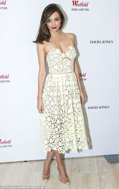 Lady in lace! Miranda Kerr was a dream in a cream Self-Portrait lace dress as she promoted her Kora skincare line at Westfield in Bondi Junction on December 17, 2015