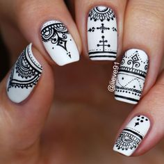 Elegant Black And White Nail Art Designs You Need To Try; Elegant Black And White Nail Art Designs; Elegant Black And White Nail; Black And White Nail; Black And White Nail Art Designs; Black And White Nail Art, White Nails, White Polish, Nail Patterns, Pattern Nails, Henna Nails, Henna Nail Art, Mandala Nails, Nagel Gel