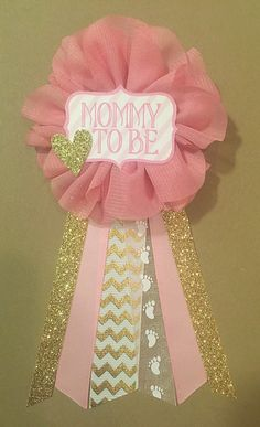 Pink and gold baby shower mommy-to-be flower ribbon corsage by afalasca
