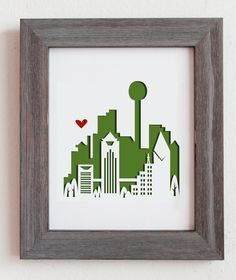 Dallas Texas.  Personalized Gift or Wedding Gift by Cropacature, $28.00
